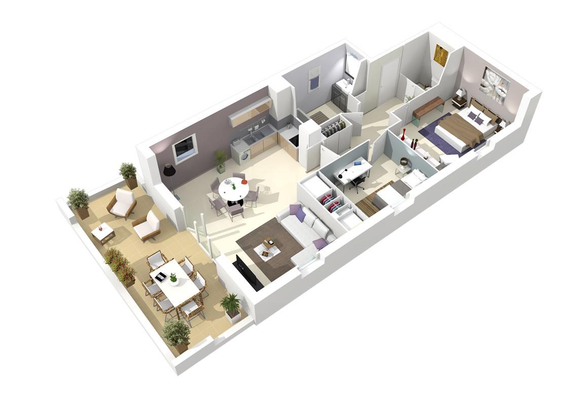plan 3d. Black Bedroom Furniture Sets. Home Design Ideas